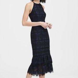 NWT Navy Black Lace Midi Dress